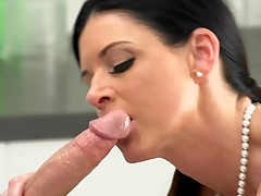 Winsome darling is down on her knees as stud pounds her