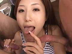 Slut Oriental mommy deepthroats big dick and her slit fingered