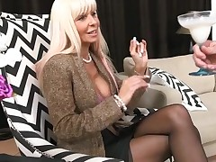Horny mother I'd like to fuck without hesitation jumps onto a hard strapon
