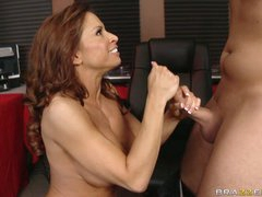 Busty MILF Devon Michaels enjoys her mouth getting fucked by a huge dick