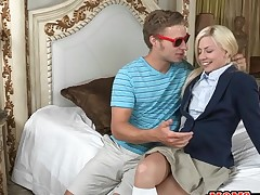 Alluring older and juvenile chick get their twats screwed wildly