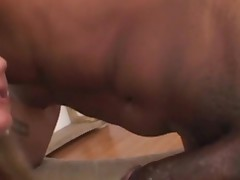 Black hottie feels chubby rod of swarthy thug in mouth and twat