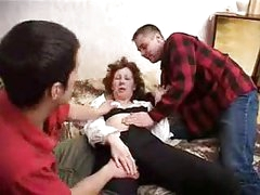 Three youthful guys fucks drunk aged women and cums on tits
