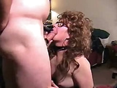Mature in boots blows him and gets fucked